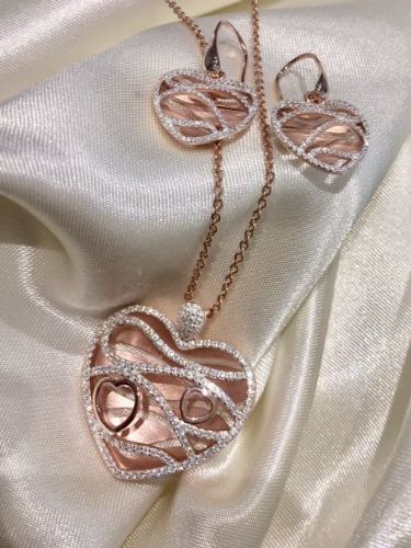 Rose Gold Plated Sterling Silver Heart Necklace SB3